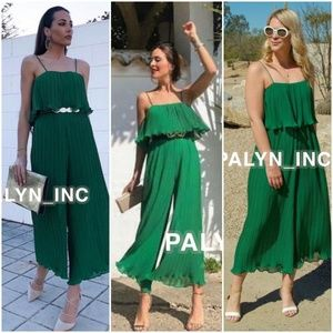 ZARA  PLEATED JUMPSUIT WITH STRAPS GREEN